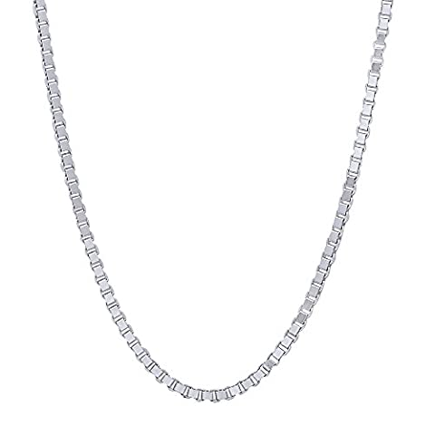 1.6mm Solid 925 Sterling Silver Box Chain Italian Crafted Necklace, 56 cm + Cleaning Cloth