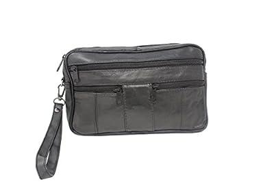 Frédéric Johns® - Sacoche homme porté main - vide poches - sacoche cuir homme - sac porté main cuir - pochette cuir - noir