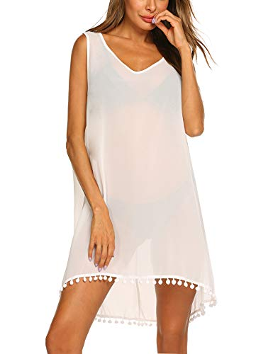 Balancora Damen Strandkleid Beiläufiger V-Ausschnitt Ärmelloses Bikini Cover Up Badebekleidungs Bluse - Bademode Cover Up Rock Kleid