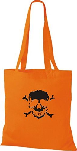 T-shirt Di Stoffa Tinta Unita A Forma Di Teschio Di Teschio Teschio Di Colore Arancione