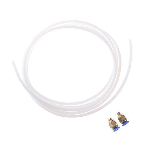 Ueetek 2 metri ptfe teflon tubo e 2 pezzi connettori per reprap rostock kossel stampante 3d bowden hotend 1.75mm