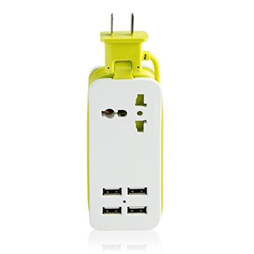Foto de EETCK Regleta portátil enchufes con 4 Puertos de Carga USB Protección contra la Sobrecarga Protección contra la Sobretensión alargador de 1,5 metros para Casa y Viajar