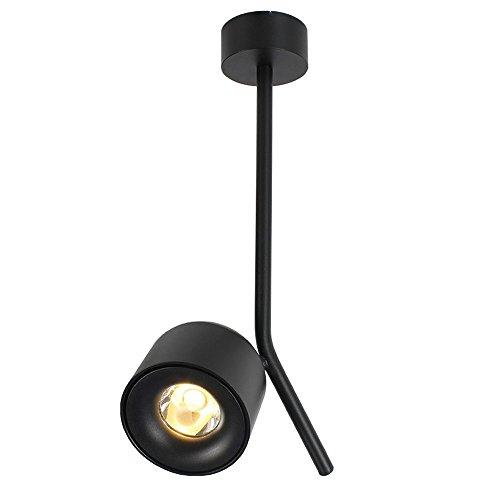 BIDTIAXI LED Pivotant Plafond Spot Moderne Creative Spot Lumière Noir Ronde Mur Spot Aluminium Mur Lampe Plafond Lampe de Chevet Lampe Salon Chambre Ø9 * H8cm 3000K 7W 490 Lumens