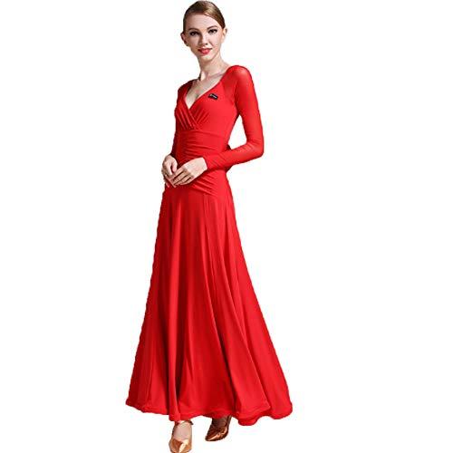 ZTXY Lyrical Dance Dress Für Frauen Moderne Mode Ballkleid Durchsichtiges Netz Langärmeliges Maxikleid Chiffon Lyrical Lob Dance Kleider für Frauen Rüschenkleid Nacht Rock Red Samb (Prinzessin Braut Kleid Kostüm Red)