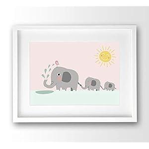 Kinderposter Elefanten Familie pastell rosa, A4 ohne Bilderrahmen, Babyzimmer Bild Deko, Tierposter