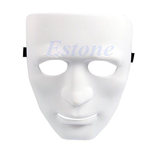Kofun Crew Vollgesichts Kunststoff Plain Maske für Tanz/Oper Kostüm Party Dance Hip Hop Weiß ()