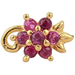 Payalwala 14K Yellow Gold Pink Color Gemstone Tourmaline Nose Pin