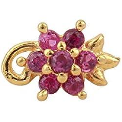 Payalwala 14K Yellow Gold Pink Color Gemstone Tourmaline Nose Pin