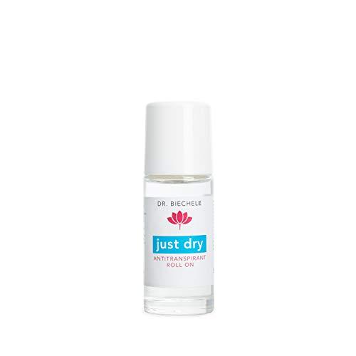 Dr. Biechele Just Dry Deo I 50 ml Antitranspirant gegen starkes Schwitzen I Deo-Roller ohne Parfum und ohne Alkohol I Kosmetik und Pflege für den gesamten Körper I 2-3 Anwendung pro Woche genügen