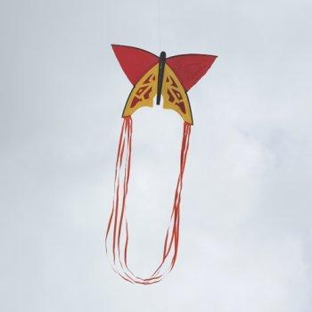 Einleiner-Drachen - Butterfly RED - für Kinder ab 3 Jahren - Abmessung: 60x40cm - inkl. 60m Drachenschnur und Drachenschwänze