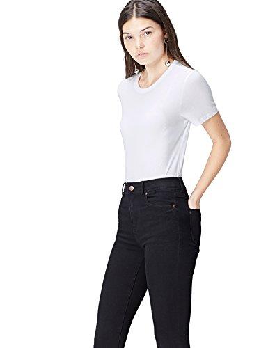 FIND Damen T-Shirt Crew Neck Weiß, 34 (Herstellergröße: X-Small) (T-shirt Schnitt Leben Damen)