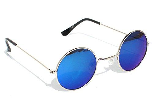 Tedd Haze 60's John Lennon Brille Silber-Blau mit Brillen Beutel