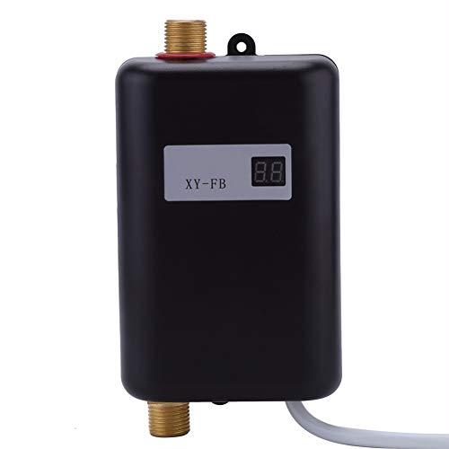 3800 W Tank-Less Instant Warmwasser-Heizung, 3 Zweite Schnellaufheizung, Elektrische Tankless Wasser-Heizung, Temperatur Anzeige Heizung Dusche Universal,Black -