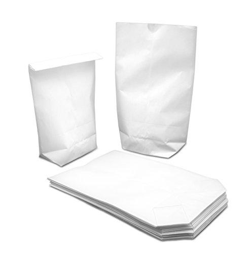 50/ 100 weiße kleine Kraftpapier-Tüten (14x19cm) mit Kreuzboden – Gerne verwendet für Hochzeiten, Gastgeschenke, Mitgebsel, Adventskalender, Weihnachten, Geburtstage, DIY Ostern uvm. (50 Stk.)
