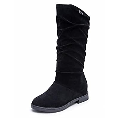 jamicy autumn winter womens boots stylish flat suede snow