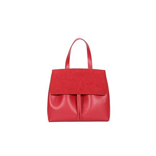 Yvonnelee Damen Einfach Leder Henkel Tasche Elegant Handtasche Schultertasche Rote