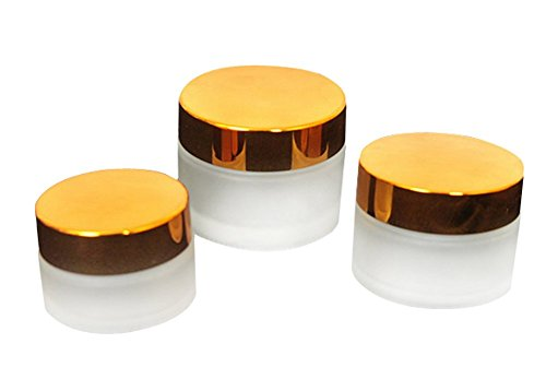 3PCS leer nachfüllbar Milchglas mit Gold Deckel Kosmetik für Salve, cremefarben, DIY Beauty, ätherischen Ölen, Lotion, Apotheker, body butter und Sugar Scrub 50 g