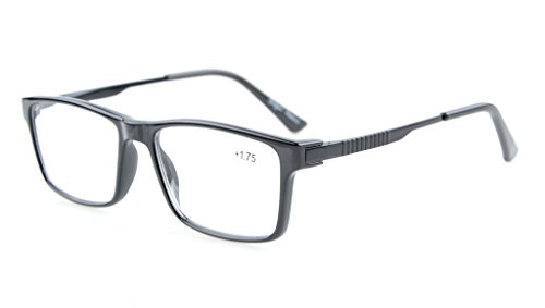 Eyekepper computadora lectores elegante Crystal Clear Vision calidad TR90 Frame bisagras de resorte Mens Womens ordenador gafas de lectura negro +0.75