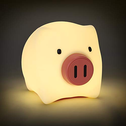 YISSVIC Nachtlicht Baby LED Kinder Schlummerleuchten Schweinchen Silikon Nachtlampe dimmbar für Babyzimmer Schlafzimmer Wohnräume und Camping (Verpackung MEHRWEG)