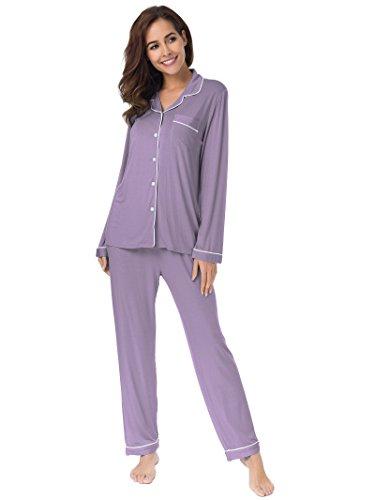 SIORO-Pigiama-delle-donne-di-imposta-il-pigiama-degli-indumenti-da-notte-morbidi-degli-indumenti-da-notte-dellabbigliamento-di-stile-lungo