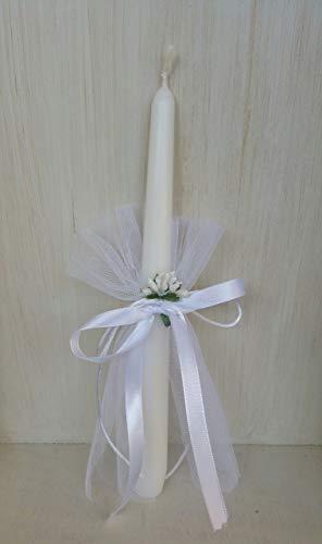Taufkerze Kommunionkerze Mädchen Kerze aus weißem Wachs ersten Kommunion, mit Tüll und weißen Blumen verziert Measehöhe 25 cm