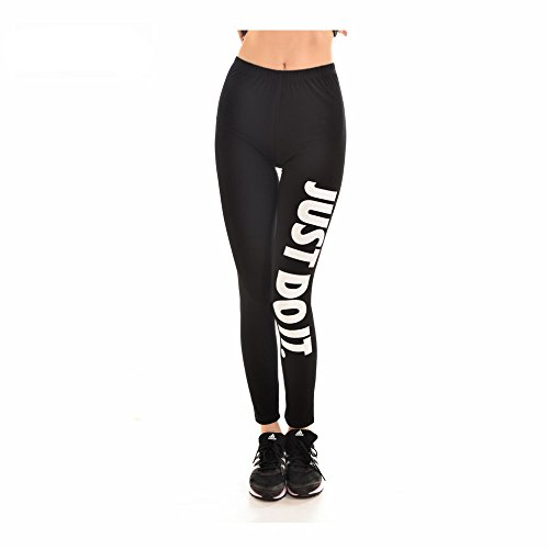 Womens-Sexy-Just-Do-It-Word-Leggings-Solid-Color-Thicken-Pants-Slim-Elastic-Leggings