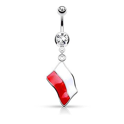 1 x Polen Nationalflagge Klare Kristall baumeln Bauch Bar Piercing Dicke: 1,6 mm Länge: 10mm Material: Chirurgischer Stahl