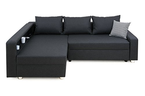 Enjoy Polsterecke mit Bettfunktion und Bettkasten Ecksofa, Stoff, Anthrazit, 161 x 224 x 84 cm