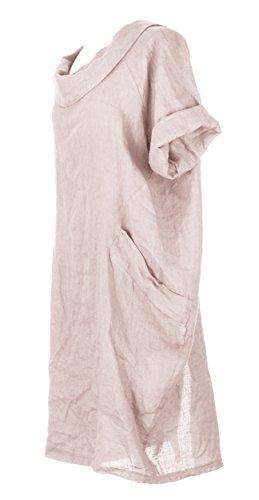 Mesdames Womens Lagenlook italienne manches courtes excentrique ronde collier 2 poche bouton arrière plaine lin robe Taille Plus Dusty Pink