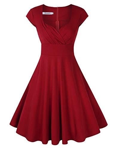 KOJOOIN Damen Vintage Kleid Cocktailkleid Abendkleid Ballkleid Rockabilly Taillenbetontes Kleid Knielang Weinrot V-Ausschnitt M