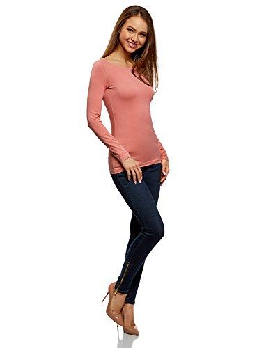 oodji Collection Damen Langarmshirt Rosa (4B00N)