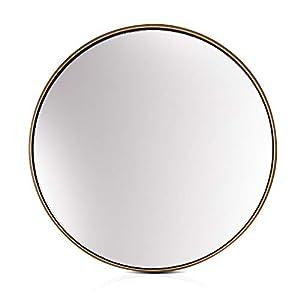 Elegance by Casa Chic – Goldener Wandspiegel aus Metall – Rund 40 cm Durchmesser – Galvanisiertes Metall – Ideal für…