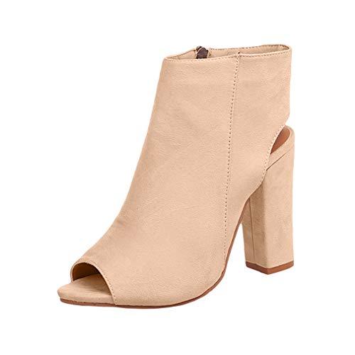 Juleya Damen Blockabsatz High Heels Sandaletten - Frauen Peep-Toe Schuhe Modische Abendschuhe Absatzschuhe Strandschuhe Freizeitschuhe 10cm Schuhe Sommer Pumps Beige 39 -