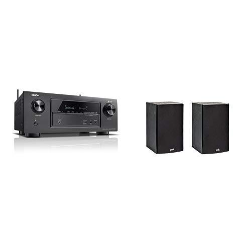 Denon AVRX2400H 7.2 Surround AV-Receiver (HEOS Integration, Dolby Vision Kompatibilität, Dolby Atmos, dtsX, HDMI Eingänge, 7x 150 W) schwarz & Polk Audio T15 Regal-Lautsprecher (Paar) schwarz Vision Audio Bundle