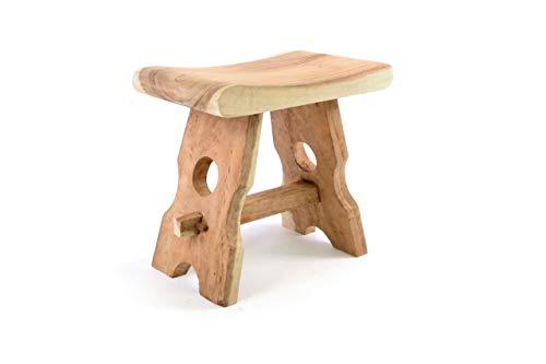 Divero HM50106 Hocker Sitzhocker Holzhocker Badhocker Duschhocker Schemel - Suar Holz massiv Reine Handarbeit eckig - braun,