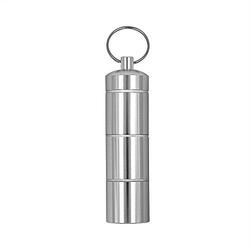 Tragbarer Mini Pille Fall Aluminium Legierung pocket Pille Halter Medizin Flasche mit Schlüsselanhänger für Outdoor-Reise Camping Erste Hilfe Wasserdicht Silber Pillendose Tablettenbox Container Drug Halter Medizin Halter