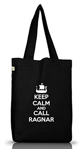 Keep Calm And Call Ragnar, Vikings Jutebeutel Stoff Tasche Earth Positive (ONE SIZE) Black