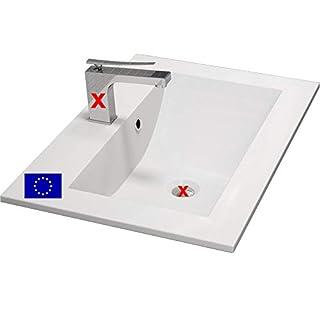 Einbau-Waschbecken 70x45x15cm eckig | 70cm Einbau-Waschtisch zum einlassen in eine Platte | Material: hochwertiges Mineralguss | Qualität MADE IN EU