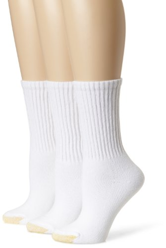 Gold Toe Women's 3 Pack Ultratec Crew Socks, White, 9-11