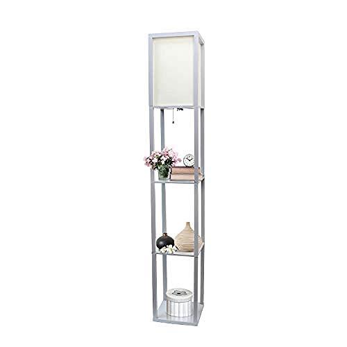 Einfache Designs Home Organizer Aufbewahrungsregal Leinenschirm Stehlampe Schwarz -