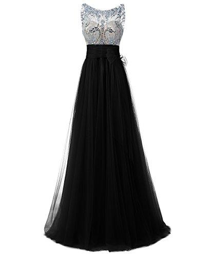 Dresstells, Robe de soirée/cérémonie/gala emperlée longueur ras du sol en tulle col rond sans manches Noir