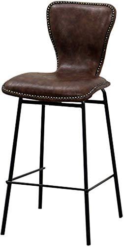 Qtqzdd sgabelli da pranzo vintage con seduta in pelle e schienale sgabello in metallo contro altezza industriale, sedie da bar moderne da cucina rustiche, alte 65 cm, capacità 150 kg