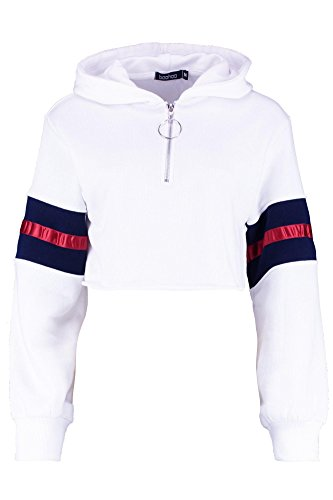 YPO Womens White Mandy Zip Front Balloon Sleeve Cropped Hoody