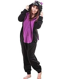 Unisex Animal Pijama Ropa de Dormir Cosplay Kigurumi Onesie Dragón Negro Disfraz para Adulto Entre 1