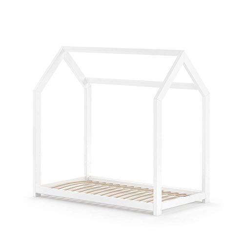 Optional Kinderbett-schublade (VitaliSpa Hausbett Wiki 70x140cm Weiß Kinderbett Kinderhaus Schublade Umbaubett (Umbaubett))