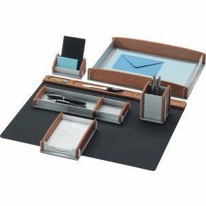 Rumold 968910 - Set di 6 accessori per scrivania, faggio/argento/alluminio