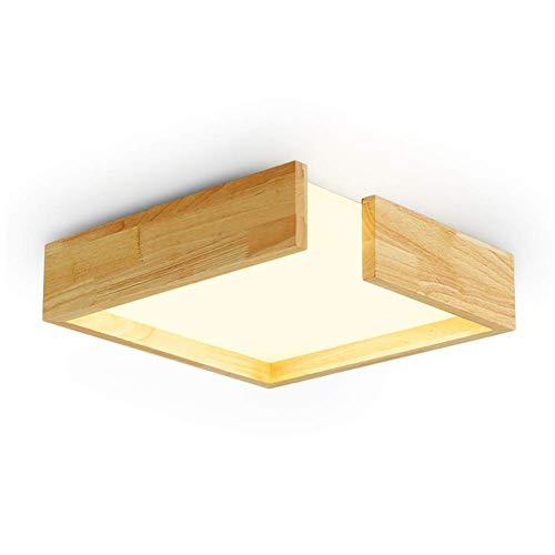 Holz-quadrat-lampe (LED Moderne Deckenleuchte Deckenlampe Holz Quadrat Decke Lampe Kreativ Notch Design Leuchte Wohnzimmer Schlafzimmer Küche Esszimmer Arbeitszimmer Büro Innen Decke Beleuchtung Warmweißes Licht,L41CM)