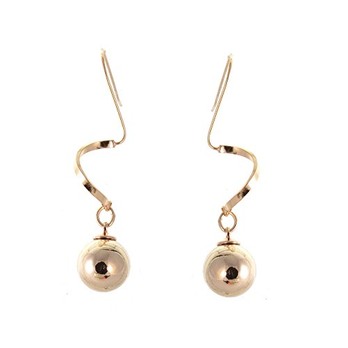 Statement Kostüm Schmuck: Lange Coil Drop Ohrringe mit Rose Gold Ball - Gold Ball Drop Ohrringe