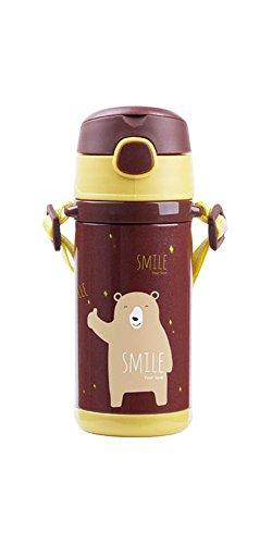 Thermobecher / Trinkbecher für Kinder   mit Trinkhalm   hält lange warm oder kalt   250 ml mit Griffen oder 320 ml mit Trageband   aus doppelwandigem Edelstahl mit Vakuumisolierung   absolut BPA-frei   einhändig bedienbar und auslaufsicher   warme oder kalte Getränke lange genießen (320ml mit Band, braun)