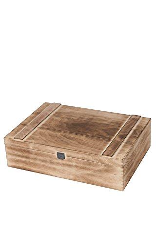 3er UNIKAT Holz Weinkiste geflammt inkl. Trennsteg, Holzwolle & Deckel   hochwertige Vintage Wein Geschenkkiste im Antiklook mit Verschluss. Geschenkbox für 3 Flaschen Wein, Sekt, Champagner